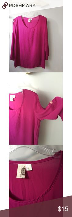 <<Anthropologie Top>> <<Anthropologie Top>> magenta (pink/purple color). Great condition.  Shoulder cutouts.  Women's size small. Anthropologie Tops Blouses
