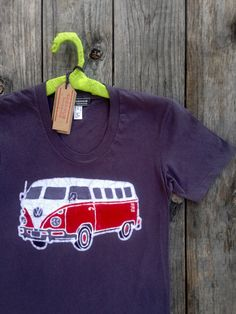 Batik VW women tshirt hippie camper handmade eco-friendly vintage black - Tops & Tees - Our Batik Camper women tee is 100% eco-friendly cotton,Form