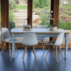 Are you interested in our painted farmhouse table and Eames chairs? With our made to measure table you need look no further. Painted Farmhouse Table, Farmhouse Style Furniture, Farmhouse Dining Room Table, Farmhouse Style Kitchen, Dining Furniture, Farmhouse Plans, Farmhouse Chic, Painted Furniture, Outdoor Tables And Chairs