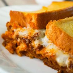 Sloppy Joe Grilled Cheese Casserole is an easy ground beef dinner recipe your whole family will love. This tasty casserole is loaded with mozzarella cheese and sloppy joe filling sandwiched between two layers of bread. Easy Ground Beef Casseroles, Ground Beef Recipes, Venison Recipes, Crockpot Recipes, Beef Recipes For Dinner, Cooking Recipes, Easy Recipes, Freezer Cooking, Cooking Ideas