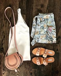 Flat Lays of the Week | bp palm print shorts, Steve Madden jole pearl sandals and pink Chloe Marcie crossbody