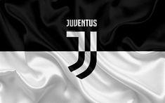 Scarica sfondi 4k, la Juventus, in Italia, in bianco e nero, football club, Serie A, nuovo Juventus emblema, bandiera di seta per desktop libero. Immagini sfondo del desktop libero