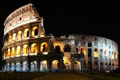 I love going to ancient places and envisioning what it would've been like and who stood there. I enjoy this the colosseum lit up like this - it makes it easier to think about what it could've been like.