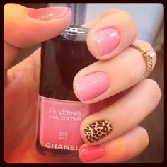 Pink and lepoard print nails