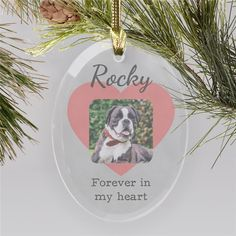 This Personalized Heart Photo Memorial Glass Ornament is the perfect way to keep your lost pet forever in your heart. Upload any photo and personalize it with any name to make glass Pet Memorial Ornaments for a truly one-of-a-kind memorial. Picture Christmas Ornaments, Christmas Dog, Christmas Photos, Glass Ornaments, Christmas Tree Ornaments, Remembrance Gifts, Word Art Design, Memorial Ornaments, Photo Heart