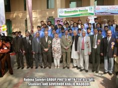 Rubina Sulehri GROUP PHOTO WITH TEVTA STAFF,Students AND  GOVERNOR KHALID MAQBOOL, 2007