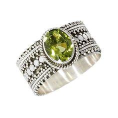 Peridot Ornate Balinese Sterling Silver Ring � Jewelry from Selena