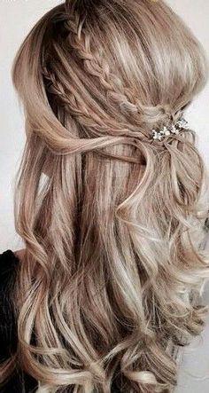 Balayage half up half down curly hair with braids #gorgeoushair