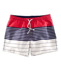 Red, white and blue swim shorts from H $17.95 #4thofjuly