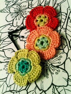 Crochet Flower Hair Pins Red Peach and Lime by CatWomenCrafts, $10.00