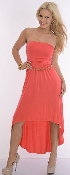 strapless hi low dress...love coral with nude pumps!
