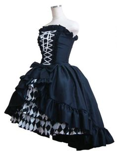 Atelier Pierrot Prima Bustle Corset Dress Black x White