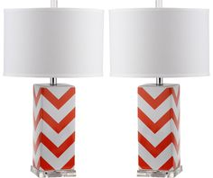 Brighten transitional interiors with the graphic Chevron Stripe table lamp by Safavieh. Crafted of orangeand white ceramic with acrylic base and a silver neck,