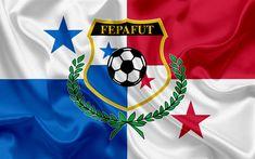 Download wallpapers Panama national football team, logo, emblem, flag of Panama, Football Federation, the World Cup, football, silk texture
