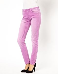 Image 1 ofASOS Elgin Supersoft Skinny Jeans in Washed Peony
