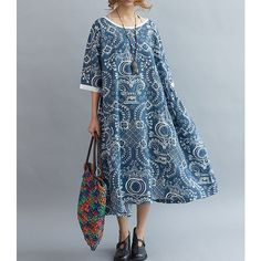 Blue Loose Oversize Dress Summer Linen Large Size Dresses (385 BRL) ❤ liked on Polyvore featuring tops, blue, dresses, women's clothing, loose fit tops, cut loose tops, loose tops, blue top and linen tops