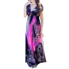 Women V Neck Empire Waist Leopard Novelty Maxi Dress Purple S - Walmart.com