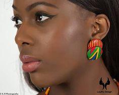 Boucles d'oreilles bouton Double Kenty wax (pagne africain)