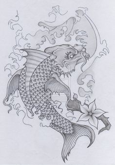 Japanese Koi Dragon Tattoo (skull samurai Pt 2) by therootofallevil1.deviantart.com on @deviantART