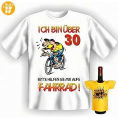 Geburtstags Set T-Shirt + Mini für die Flasche <-> Ich bin über 30 Jahre <-> ein kleines lustiges Geschenk Goodman Design®Weiss (*Partner-Link)