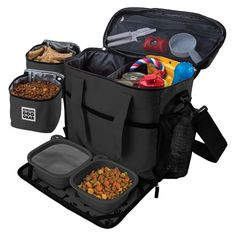 Overland Dog Gear Travel Bag - Week Away Bag for Medium & Large Dogs with 2 Food Carriers, Placemat & 2 Bowls, Black