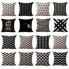 Cheap Pillows Black & White Geometric throw Pillow Case High Quanlity Cushion Cover home decor seat back cushions cojine Cheap Pillows, Diy Pillows, Sofa Pillows, Throw Pillows, Sofa Throw, Geometric Cushions, Geometric Pillow, Decorative Cushions, Sofa Pillow Covers