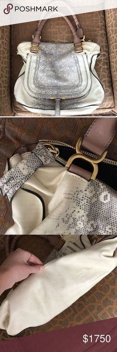 Chloe Large Marcie embossed leather This authentic Chloe bag has a beautiful embossed snakeskin look.  Great condition and a perfect fall color.  Cheaper through ️️ and available with PAYMENT PLANS!!! Chloe Bags Satchels