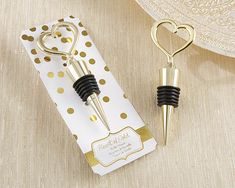 Gold Heart Bottle Stopper - Gold Wedding Favors  Kate Aspen - awesome favors/decorations for many occasions!