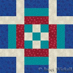 """Independence Square Quilt Block Pattern; by Janet Wickell. Independence Square is an excellent quilt block pattern for your patriotic quilt projects, but works just as well with any other theme. The instructions are for one 12"""" x 12"""" quilt block, but it's easy to double-up on strip pieced segments to make an entire batch of blocks. http://quilting.about.com/od/12-Inch-Quilt-Blocks/ss/Independence-Square-Quilt-Block-Pattern.htm"""