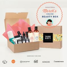 We are partnering with rated clean 0-3 beauty brand sponsors1 who support our mission to bring the most requested beauty box to you. Each box comes with 9 hand-picked, rated clean beauty products, a full she-bang of Think Dirty swag goodies and lots of love. Valued at over $USD 180+, specially offered to you for $USD 95!    The Think Dirty Clean Beauty box is the perfect gift for health-conscious significant others, hard-core yogi friends, or kale-loving besties. Or better yet, show yourself…