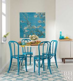 Liven up your living space with this bold, beautiful shade of blue.