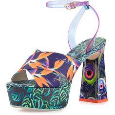 Sophia Webster Effie Tropical-Print Platform Sandal ($550) ❤ liked on Polyvore featuring shoes, sandals, open toe platform sandals, sophia webster, patent sandals, platform shoes and block heel sandals