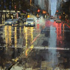 A new cityscape I'm working on of market street in the early morning. City Painting, Abstract Landscape Painting, Landscape Paintings, Watercolor Landscape, City Landscape, Urban Landscape, Foto Gif, Cityscape Art, Modern Art Paintings
