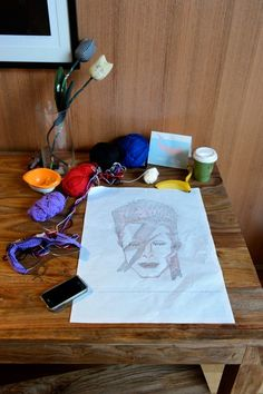 """A couple of years ago I made a simple purple cardie with that iconic picture of David Bowie's """"Aladdin Sane"""" cover (many also refer to as Ziggy Stardust Bowie). I drew the grid fr… Knitting Charts, Hand Knitting, Knitting Patterns, David Bowie Pictures, Ziggy Stardust, Knitting Projects, Grid, Embroidery, Purple"""