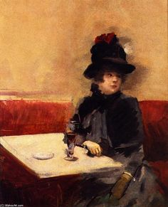 'Woman in a Café', Oil On Panel by Jean Louis Forain (1852-1931, France)