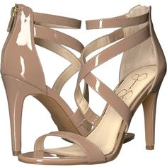 Jessica Simpson Ellenie (Nude Patent) Women's Shoes (865 MAD) ❤ liked on Polyvore featuring shoes, pumps, nude high heel shoes, nude pumps, open toe pumps, patent leather shoes and nude open toe shoes