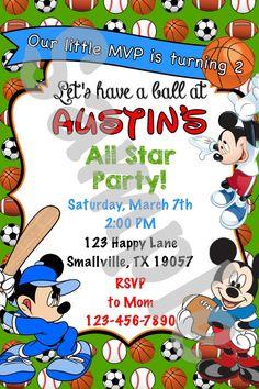 Mickey Mouse Sports Birthday Invitation MM01 by Denleys on Etsy
