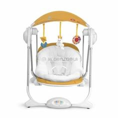 Altalena Chicco Polly Swing 2012 Gold usable indoors and outdoors with 4 different speeds to cradle the kid.  http://www.lachiocciolababy.it/bambino/altalena_chicco_polly_swing_2012-2544.htm