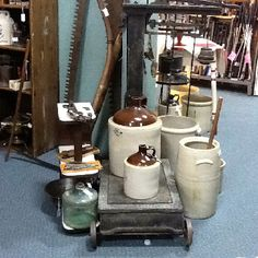 Nice crocks and stoneware plus primitive tools and antique furniture, in booth 88 at the Brass Armadillo Antique Mall (816) 847-5260