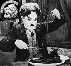 The Paper Sandwich: Charlie Chaplin is Eating His Shoes. Clothing becomes food as Charlie Chaplin is forced to eat his leather shoes in The Gold Rush. Charlie Chaplin, Frases Charles Chaplin, Charles Spencer Chaplin, Cool Hand Luke, Stan Laurel, Teatro Real, English Comedians, My Autobiography, Main Image