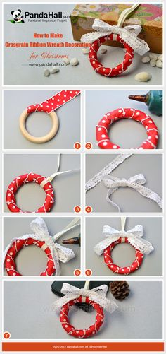 PandaHall Christmas Decoration Craft-----Grosgrain Ribbon Wreath Decoration for Christmas Hanging the wreath is the custom in Christmas. Today's tutorial is to make grosgrain ribbon wreath decoration for Christmas. Christmas Arts And Crafts, Christmas Ornament Crafts, Christmas Projects, Christmas Tree Decorations, Holiday Crafts, Christmas Wreaths, Winter Wreaths, Spring Wreaths, Christmas Fashion