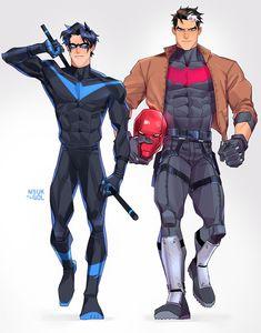 Jason Todd aka Red Hood and Dick Grayson aka Nightwing Nightwing, Batgirl, Robin Dc, Batman Robin, Batman Arkham, Batman Batman, Red Hood Jason Todd, Jason Todd Robin, Arte Dc Comics