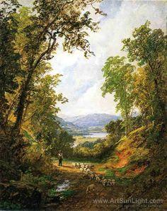 Jasper Francis Cropsey's oil painting Shepherd and Flock