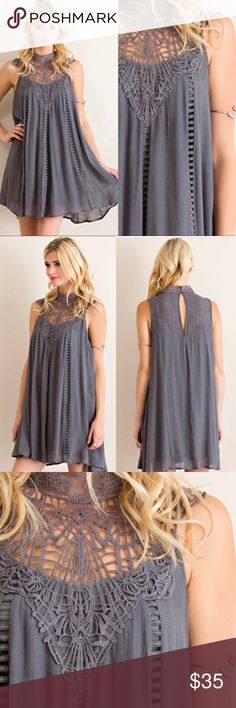 Charcoal Lace Neck  Dress •Lace Neck Detail •Key Hole Back •Fully Lined •55% Rayon 45% Polyester   SMALL:  42in B, 34in L     MED: 44in B, 35in L     LARGE: 46in B, 35in L  SKU#  ••••••••••••••••••••••••••••••••••••••••  Hello! I'm Monika. I'm a Boutique Owner & an Boutique Coach. Welcome to my closet!   Let's keep in touch  Instagram: @monikarosesf YouTube: MonikaRoseSF Snapchat: itsmonikarose Monika Rose SF Dresses