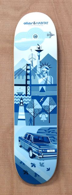 Great design here. The entire skateboard is colored with different shades of blue and the drawing itself is perfect. It has to be in NYC, since the statue of Liberty is there. The vector design is straight and works great.