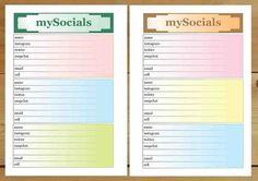 Printable Social Inserts for Filofax A5 Kikki-K by digizines