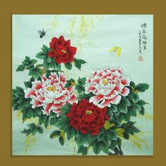original chinese traditional painting peony with by on Etsy Butterfly Painting, Butterfly Art, Flower Art, Chinese Prints, Chinese Art, Japanese Flowers, Japanese Art, Asian Cards, Traditional Japanese Tattoos