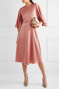 Roksanda | Hillevi hammered silk-satin midi dress | NET-A-PORTER.COM