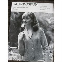 """munrospun knitting pattern 8128 ladies cardigan Bust 36"""" - 42"""""""