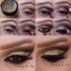 Outline your lids and fill in with sparkles to get this striking look. Great for latin and standard and bound to catch the eye out on the floor. Visit http://ballroomguide.com/comp/hair_make_up.html for more hair and makeup info